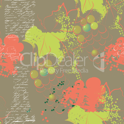 Grunge seamless pattern with grapevine