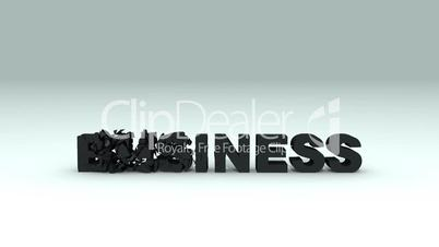 Business word breaking into pieces, slow motion 3d animation
