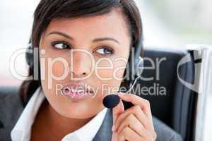 Portrait of a beautiful customer service agent at work