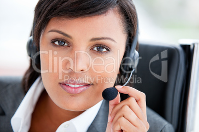 Portrait of a charming customer service agent at work