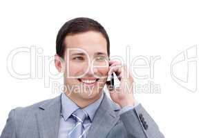 Portrait of a lucky businessman on phone