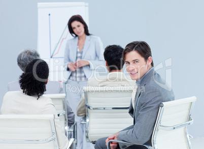 Confident businessman at a presentation