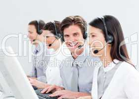 Smiling customer service representatives