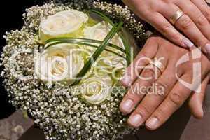 Brautstrauß, Eheringe, Hochzeit, Trauung