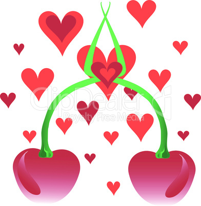 Cherries and hearts