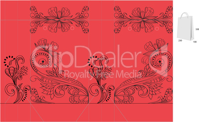 Red template for bag