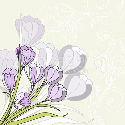 Greeting card with violet flowers