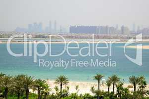 Beach of Atlantis the Palm hotel with a view on fronds of Palm J