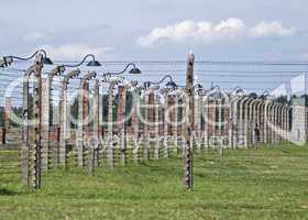 Wire fence and stoves in Birkenau concentration camp