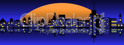Landscape of nightly city.