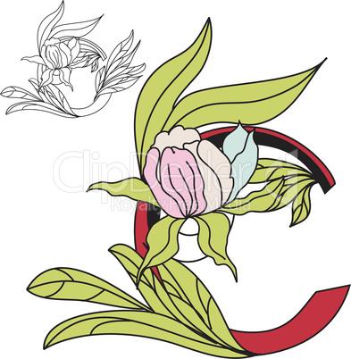 Floral font 2. Letter C