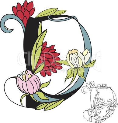 Floral font 2. Letter D
