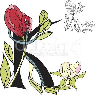 Floral font 2. Letter K