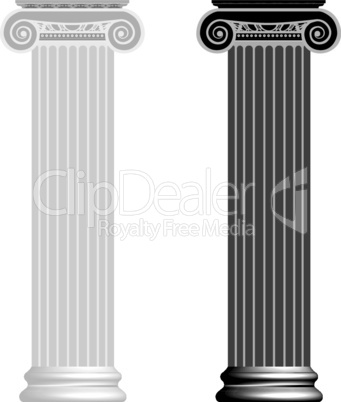Ionic column isolated on white background