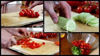 Preparing salad montage