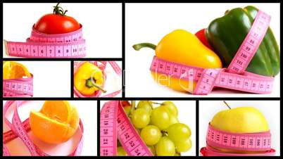 Fruits and vegetables with measuring tape montage