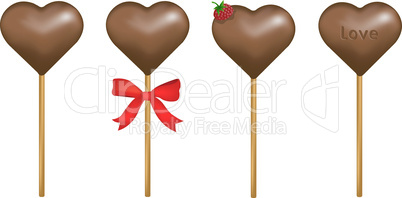 Stick of chocolate candy hearts with a raspberry or bow or love notes