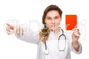 Doctor with red card