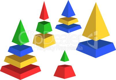 Varicoloured pyramids.