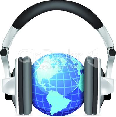 Vector globe with headphones