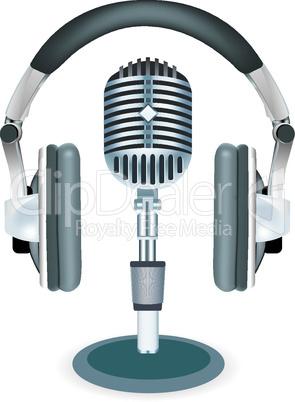 Vector headphones witn microphone