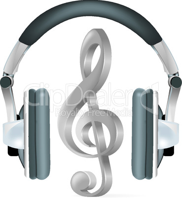 Vector headphones witn microphone on white background