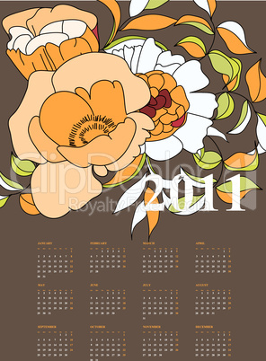 calendar for 2011 with decorative flowers