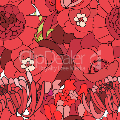 Colorful seamless wallpapers with a lot of red flowers