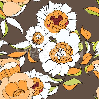 Stylized seamless wallpaper with orange flowers