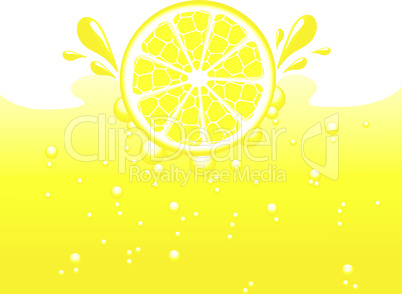 Lemon falling into the lemonade