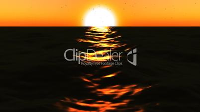 Loopable FullHd 3d sea with great sunset and waves.