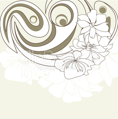 Decorative background with white flowers