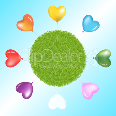 Colorful Balloons Around Grass Ball