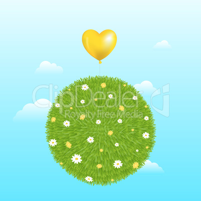 Grass Ball With Yellow Balloon