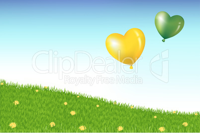 Balloons Above Grass Hill With Yellow Dandelions