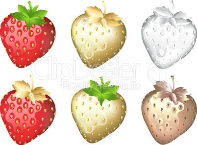 Strawberry Set, Isolated On White