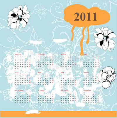 Calendar with flowers for 2011