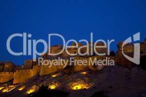 """Abenddämmerung in Jaisalmer, """"die goldene Stadt"""" in Rajasthan, Indien"""