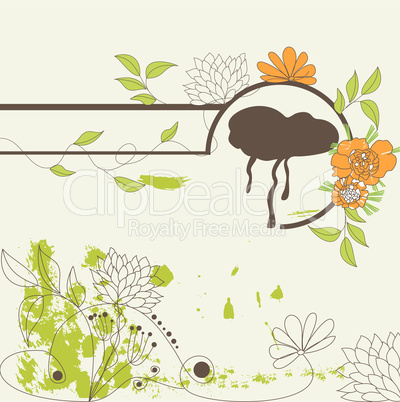 Decorative illustration with flowers