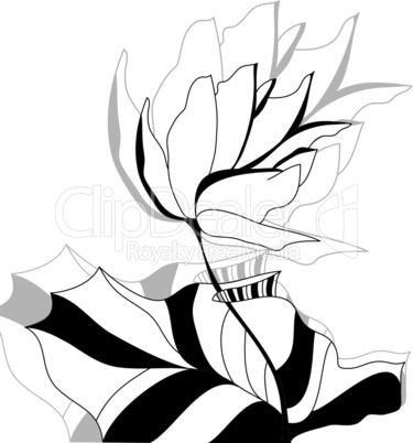 Monochrome illustration with flower
