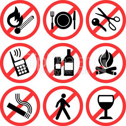 Prohibitory icons