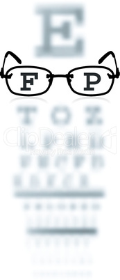 Vector test alphabet in oculist room with glasses