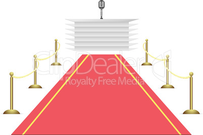 Red carpet to tribune on white background