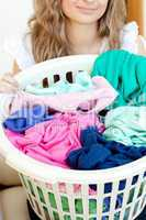 Close-up of a young woman doing laundry