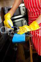 Close-up of a caucasian woman doing housework
