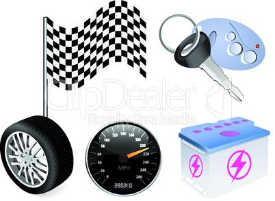 Vector auto icon set on white background