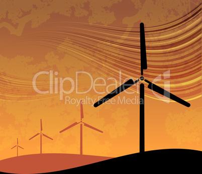 Wind Farm on Sunset