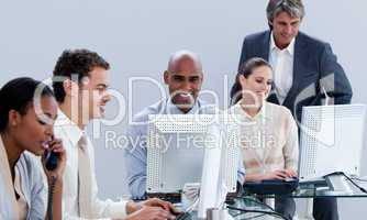 Assertive business team working in the office