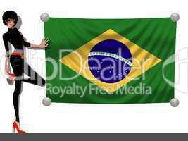 Frau mit Fahne Brasilien