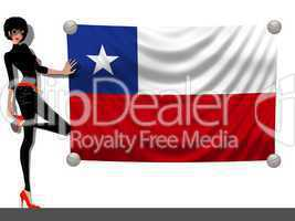 Frau mit Fahne Chile